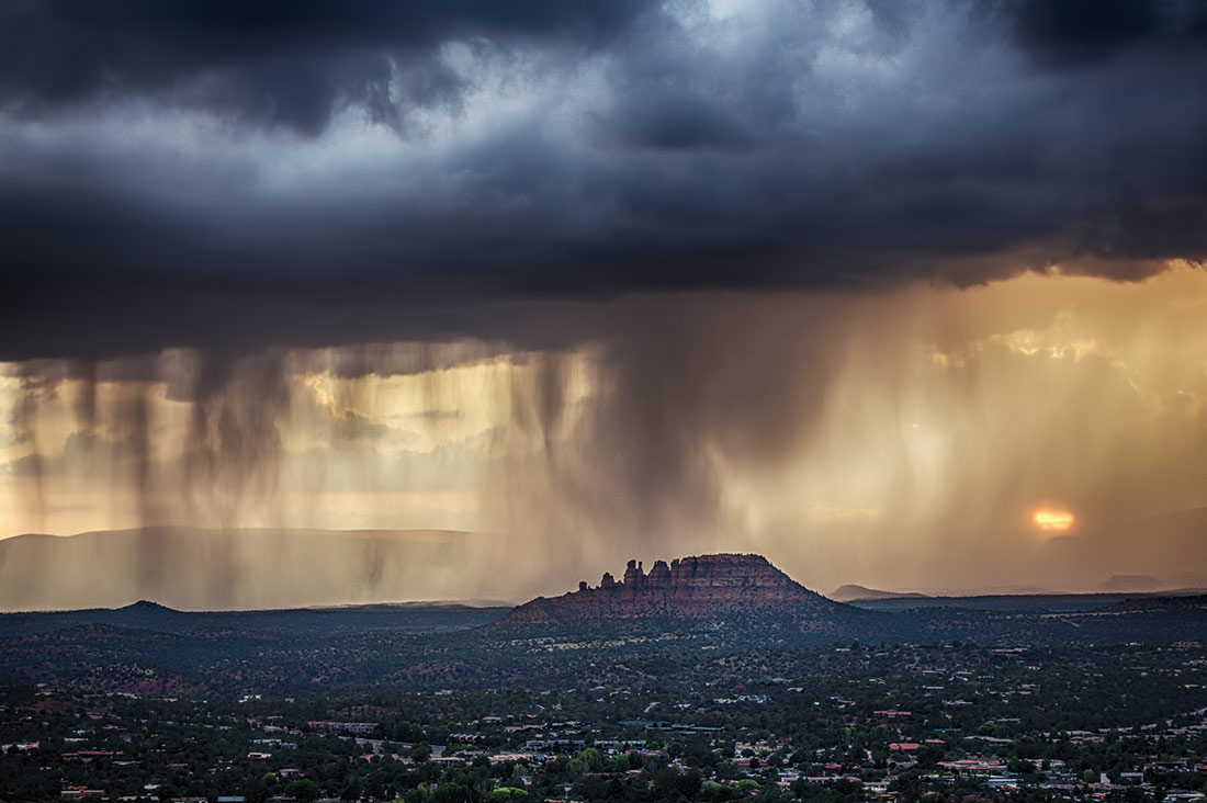 storm at sunset over sedona