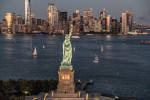 The Statue of Liberty and NYC from above