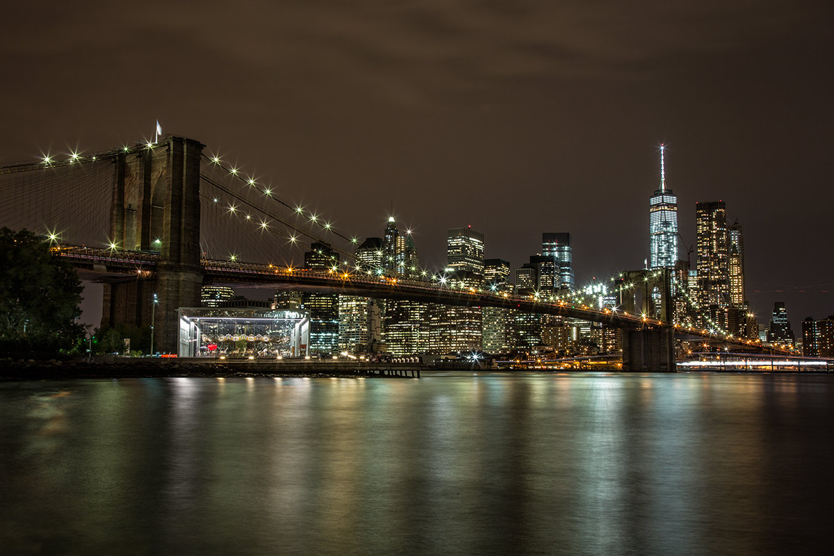 The Brookyln Bridge after dark