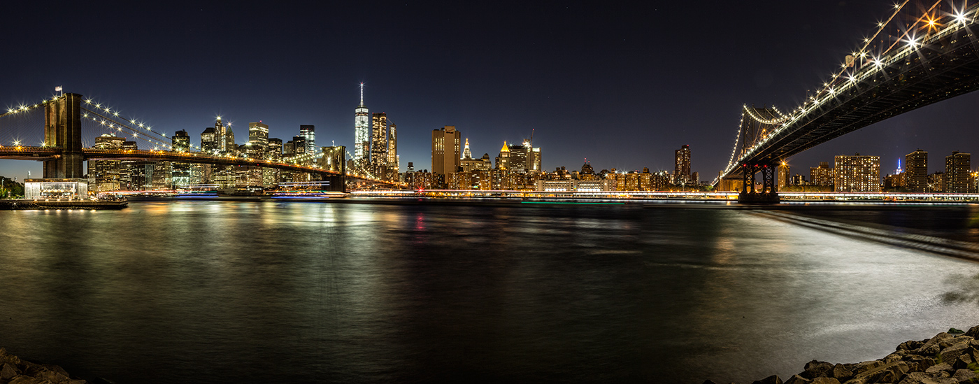 The Manhattan and Brooklyn Bridge after dark