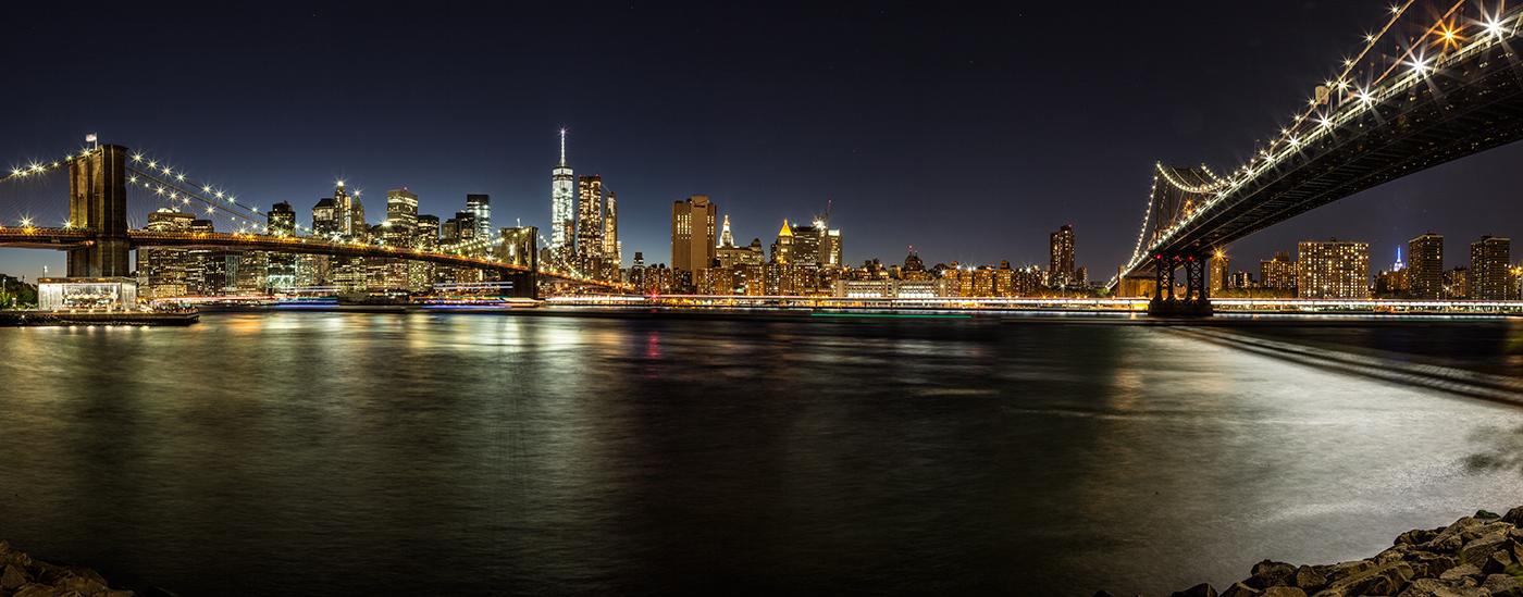 The Manhattan and Brooklyn Bridge after dark