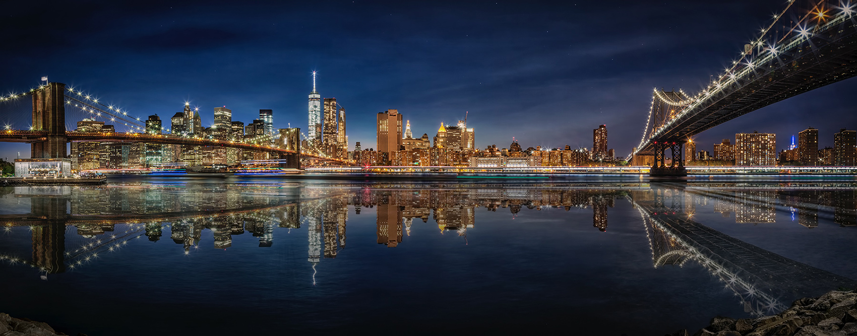 Panorama of New York City from Brooklyn after dark