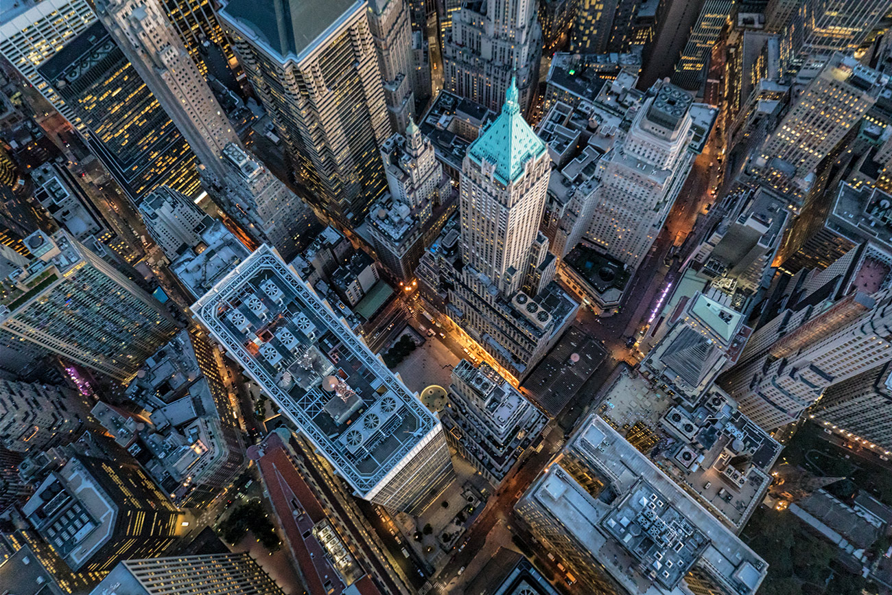 NYC from above in a helicopter