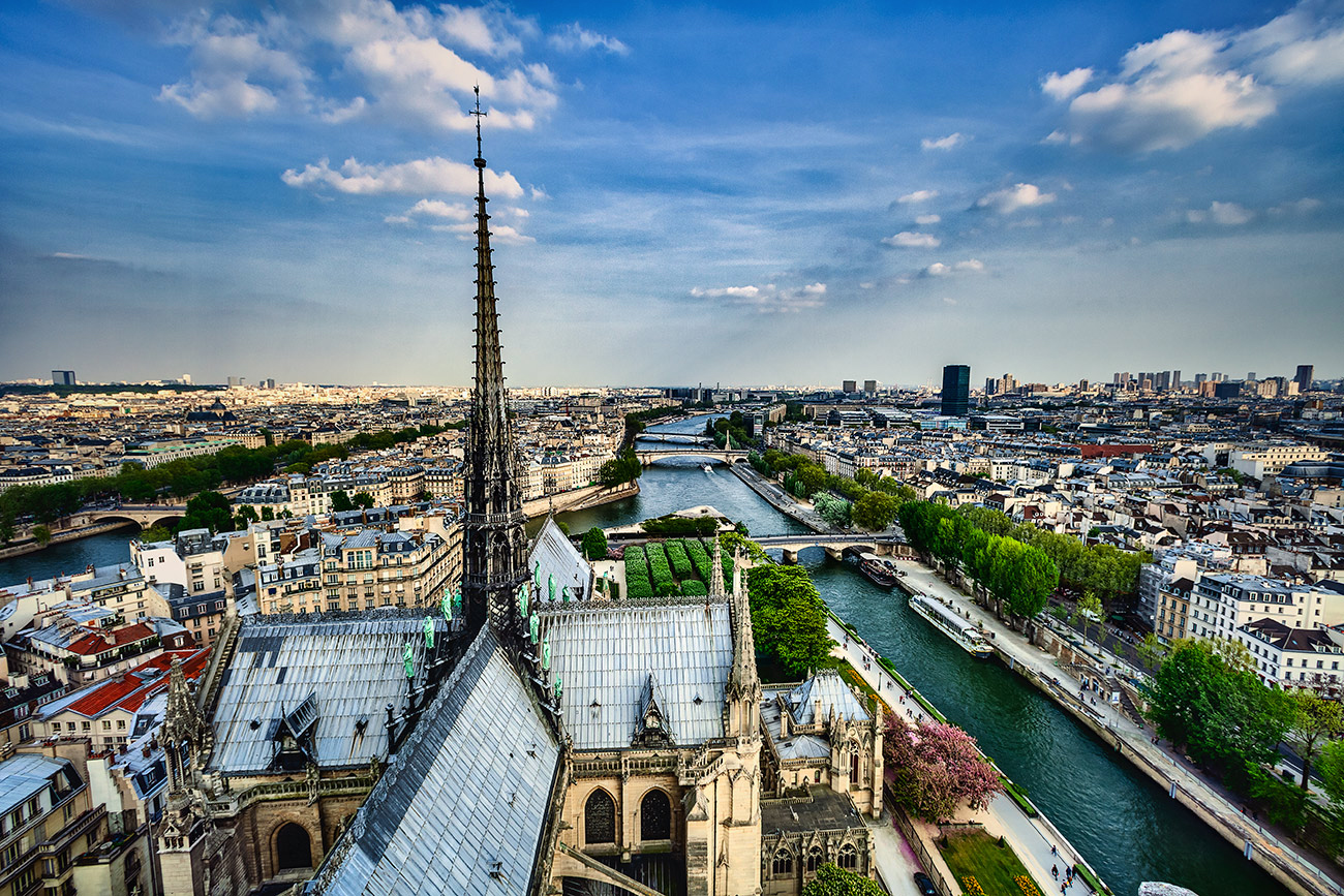 Roof and spire at Notre Dame Cathedral, Paris