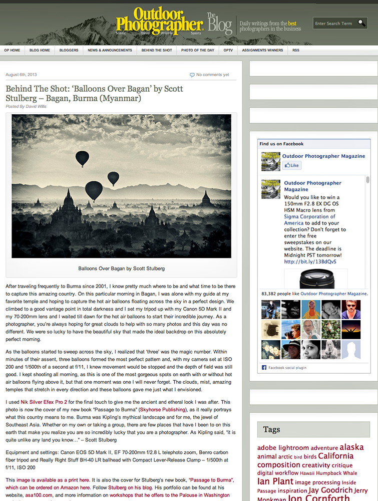 Outdoor photographer magazine blog on Burma shot