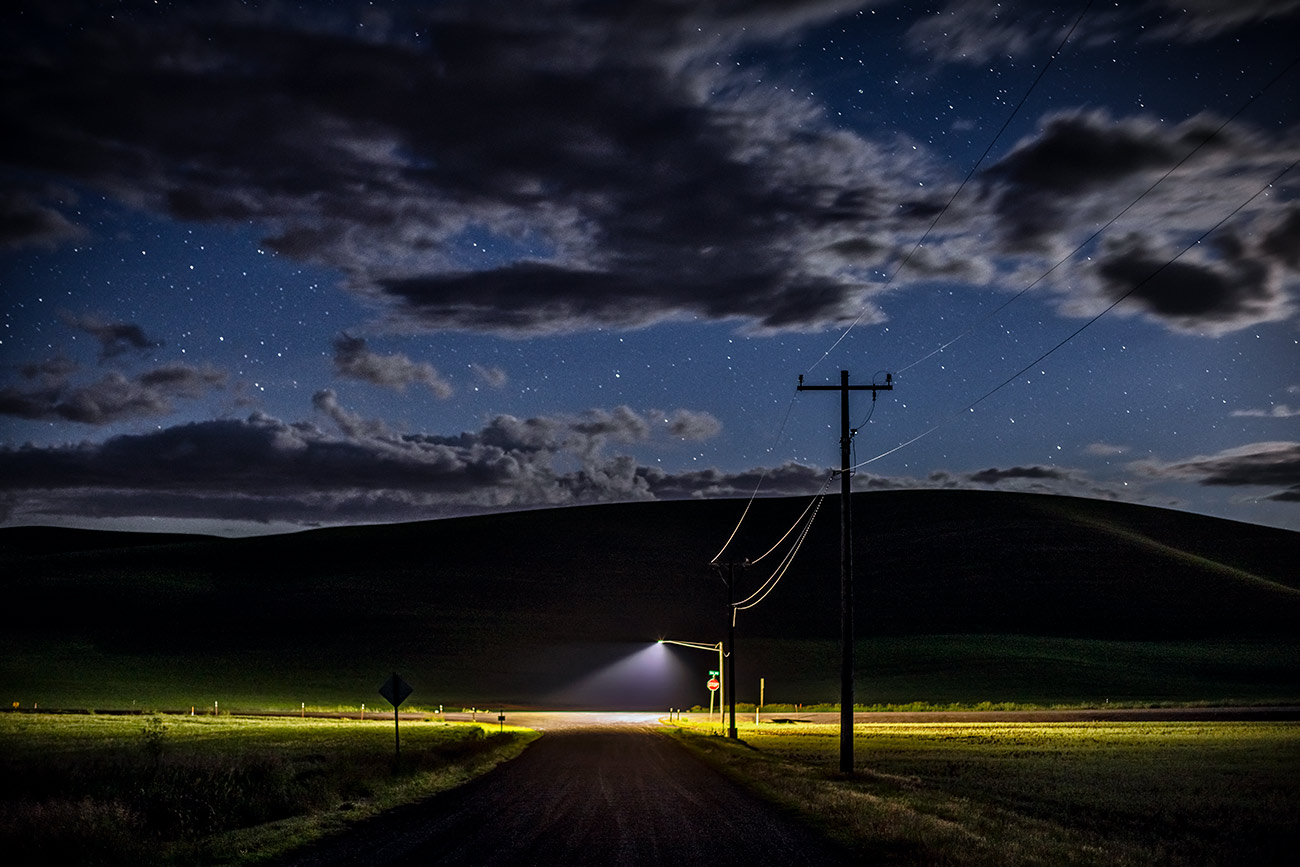 After dark on Hwy. 195 in the Palouse