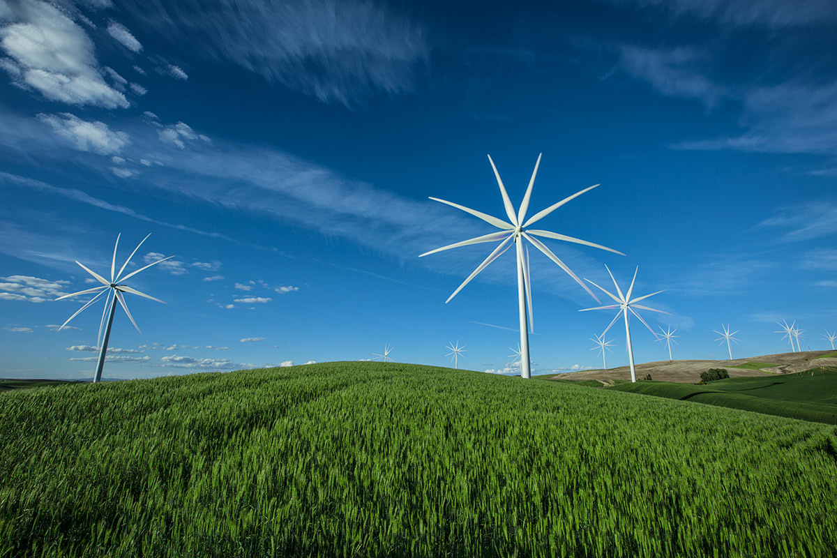 Windmills in the Palouse in Washington