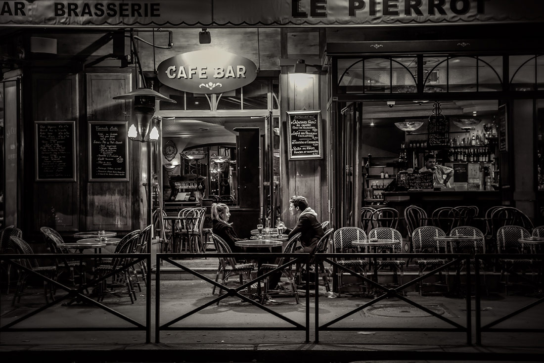 Paris cafe after dark