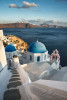 The Blue Churches of Santorini