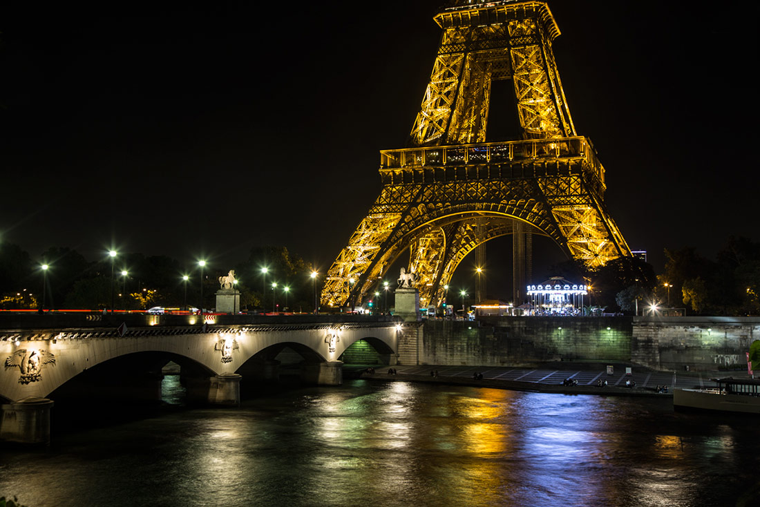 The Eiffel Tower after dark