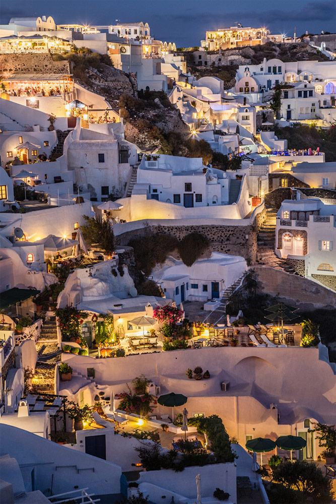 Twilight in Oia in Santorini, Greece