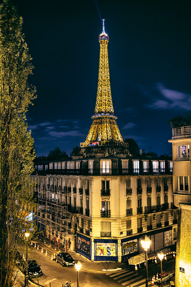 Eiffel Tower after dark, Paris, France