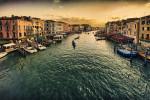 The view from the Rialto Bridge in Venice