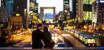 Cool couple kissing by La Defense