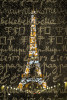 Eiffel Tower twinkling after dark