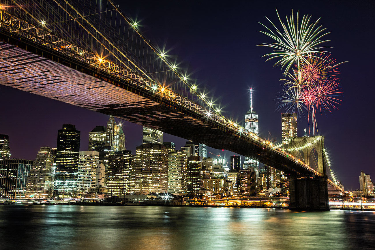 Fireworks above the Brooklyn Bridge in NYC