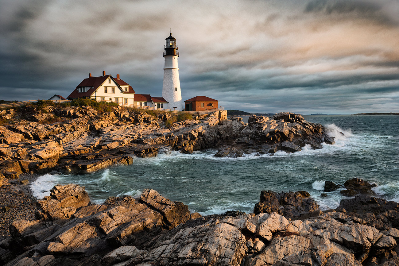 Portland Maine Lighthouse at sunrise