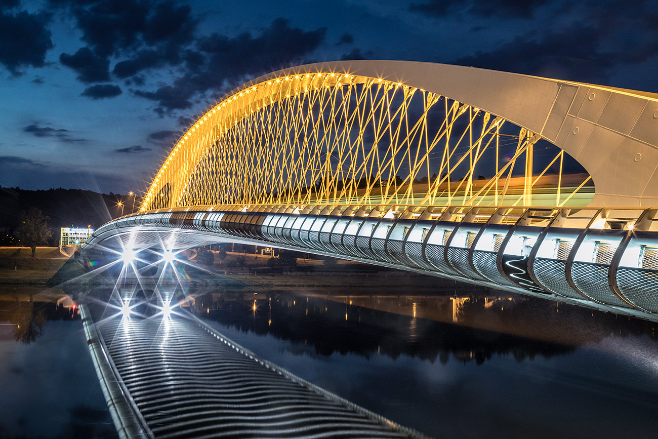 The futuristic Troja Bridge in Prague