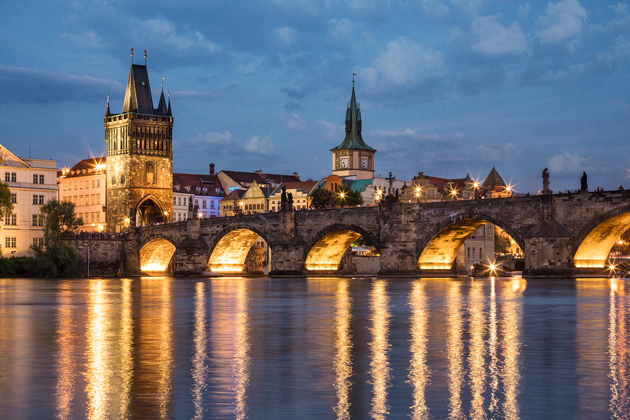 The Charles Bridge in Prague at sunset