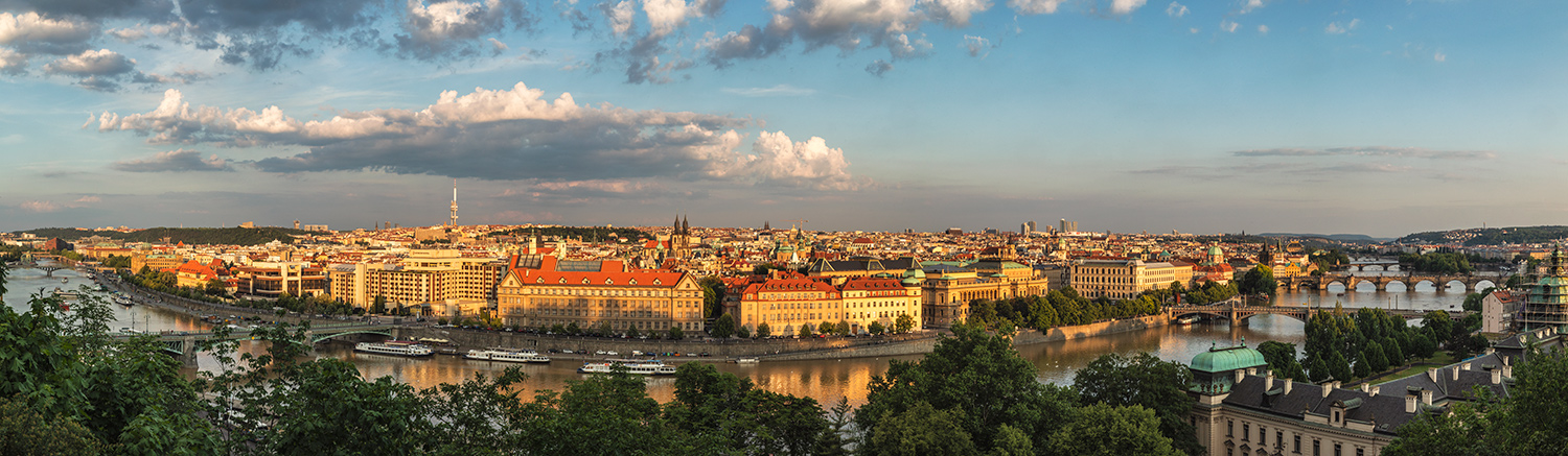 Panorama of Prague from above at sunset