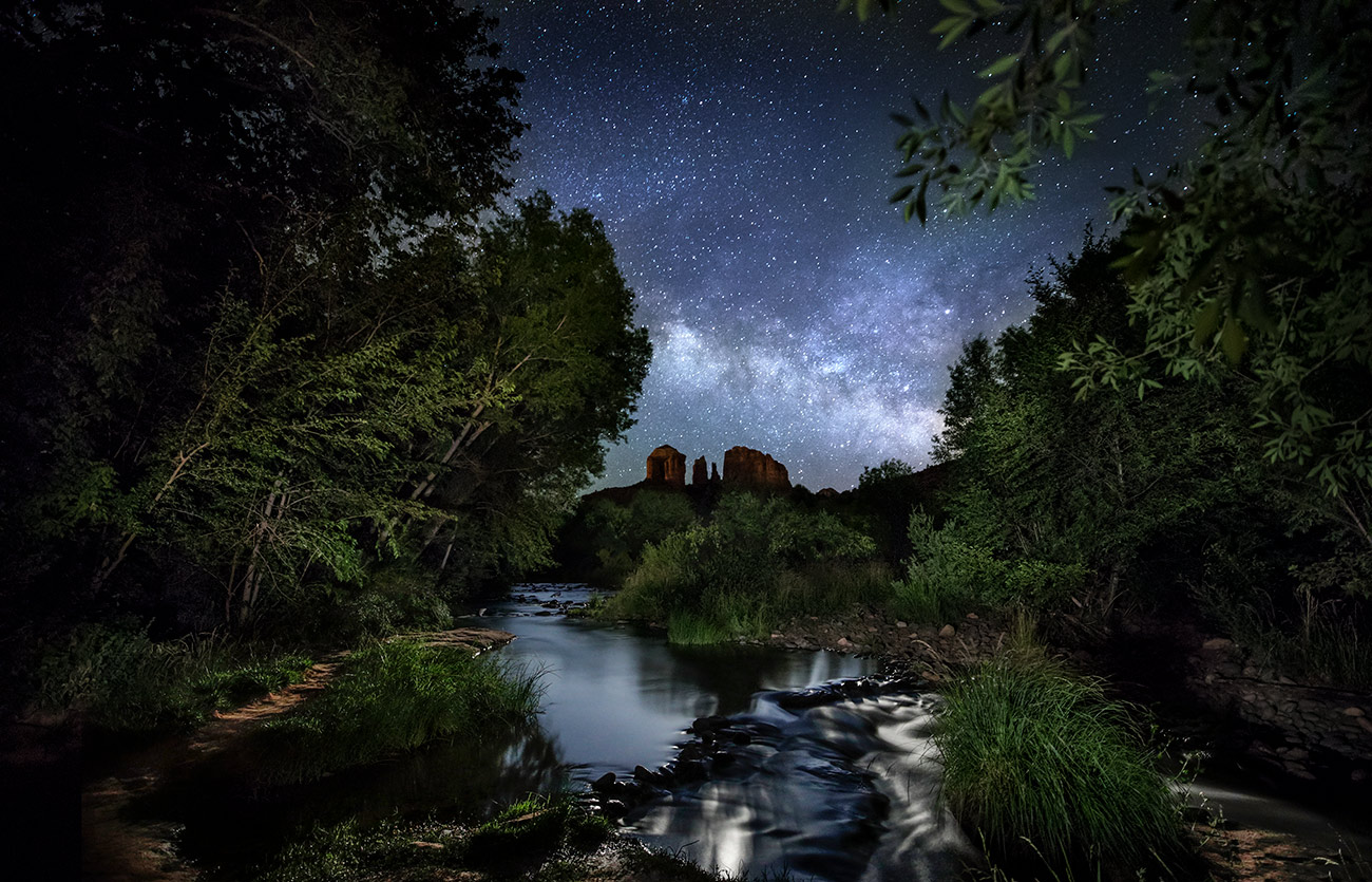 The Oak Creek River in Sedona fter dark