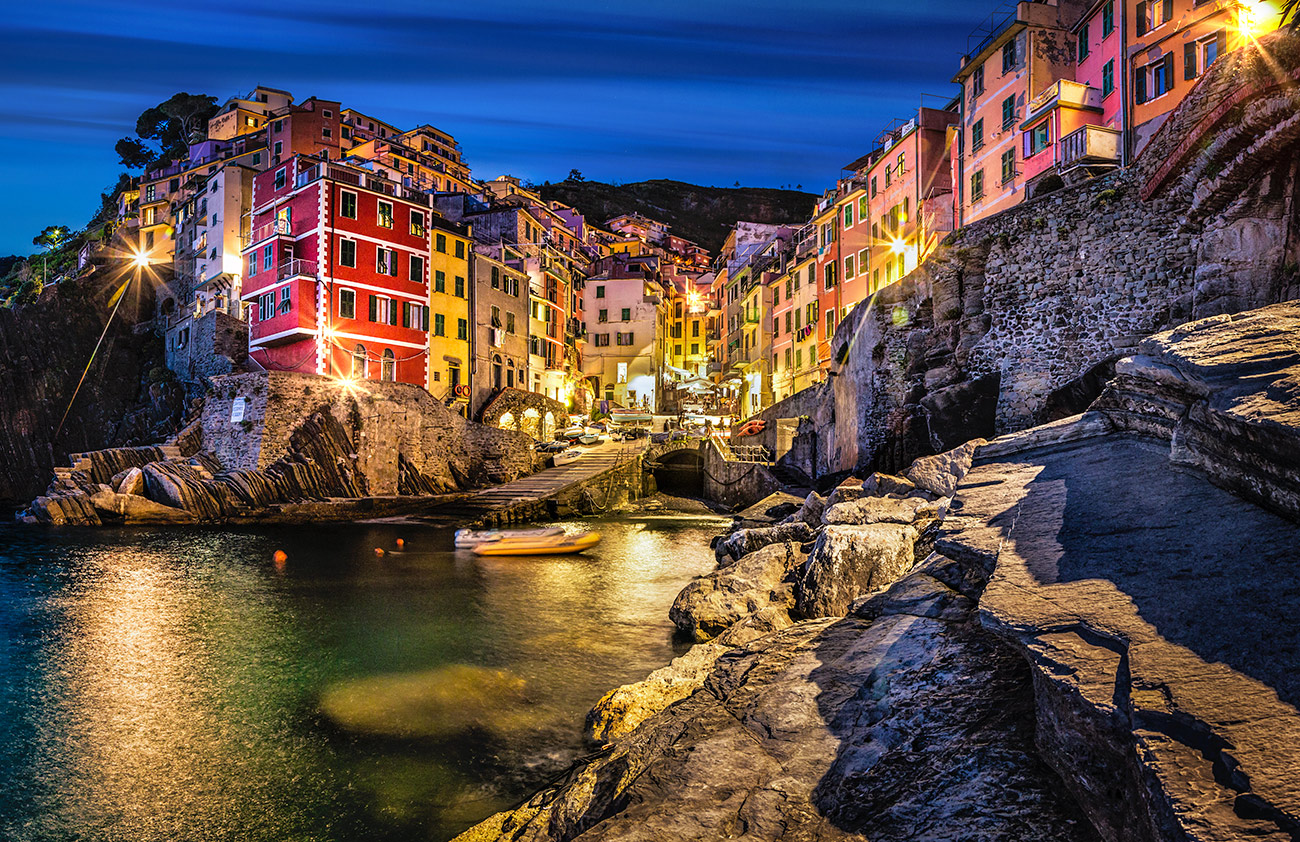 Riommagiore in the Cinque Terre, Italy at sunset