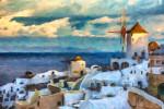Santorini with brush strokes added