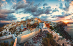 Sunrise panorama of Oia in Santorini, Greece