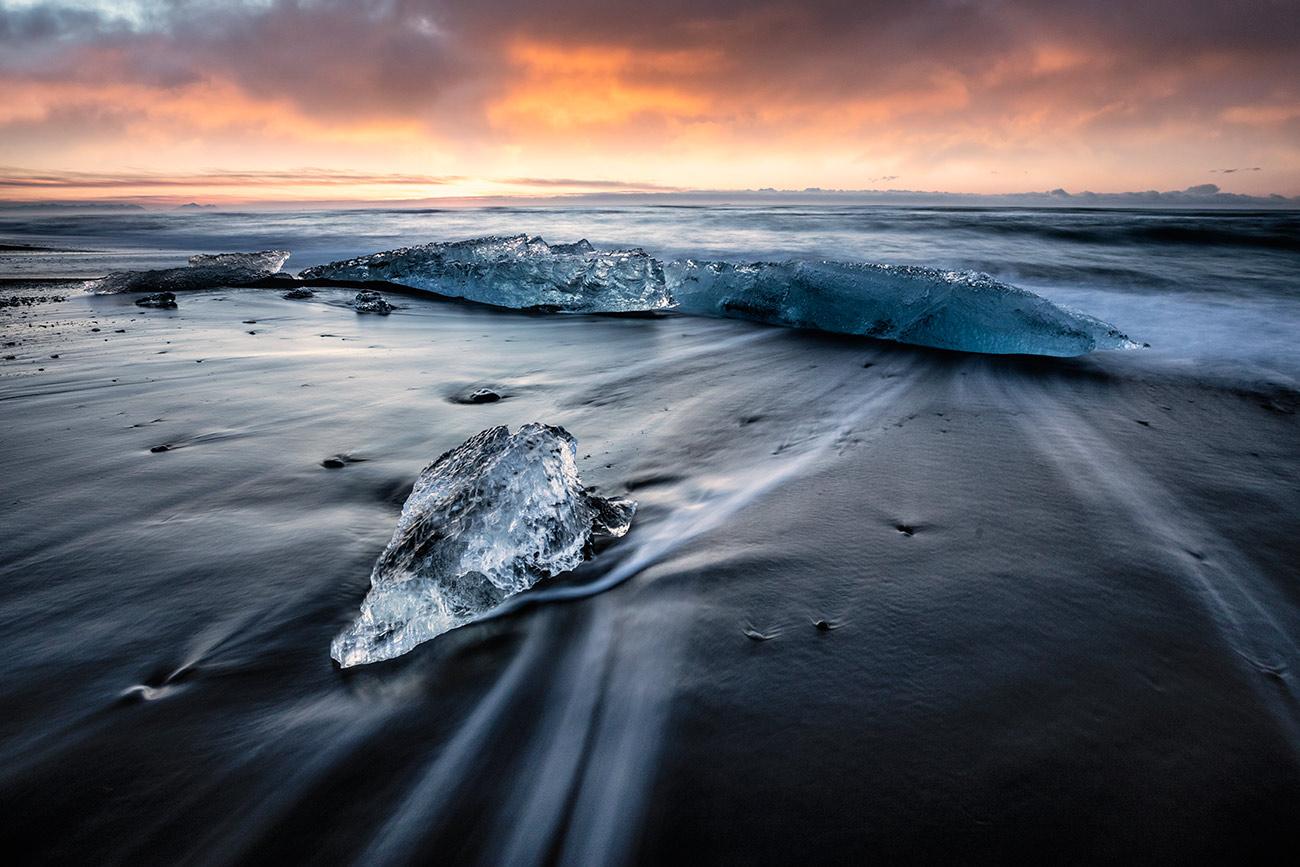 Small icebergs on the beach by Jokulsarlon lagoon, Iceland