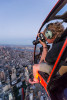 Shooting above New York in a helicopter
