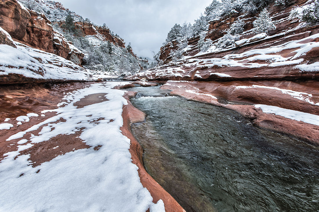 Slide Rock with fresh snow,  Sedona, Arizona