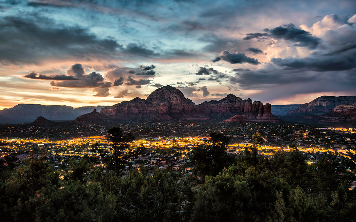 View from Airport  Mesa after sunset in Sedona
