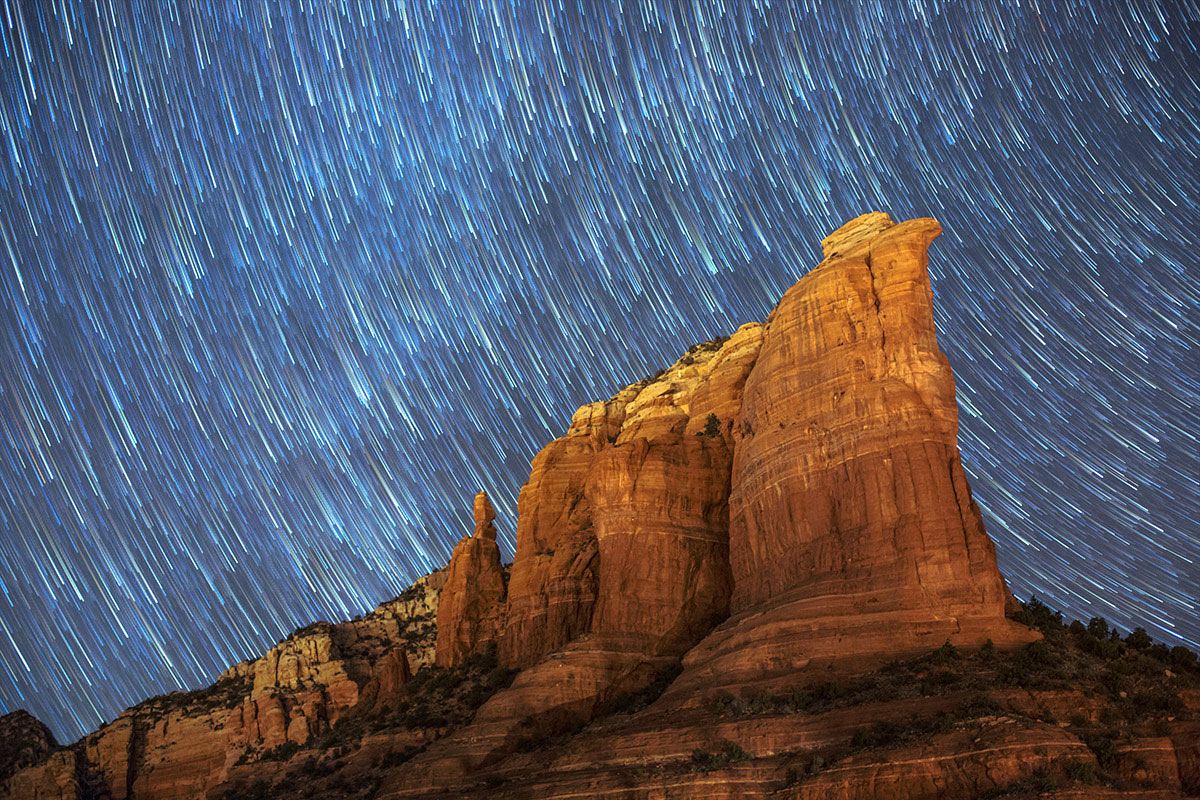 Star trails over  Coffee Pot Rock