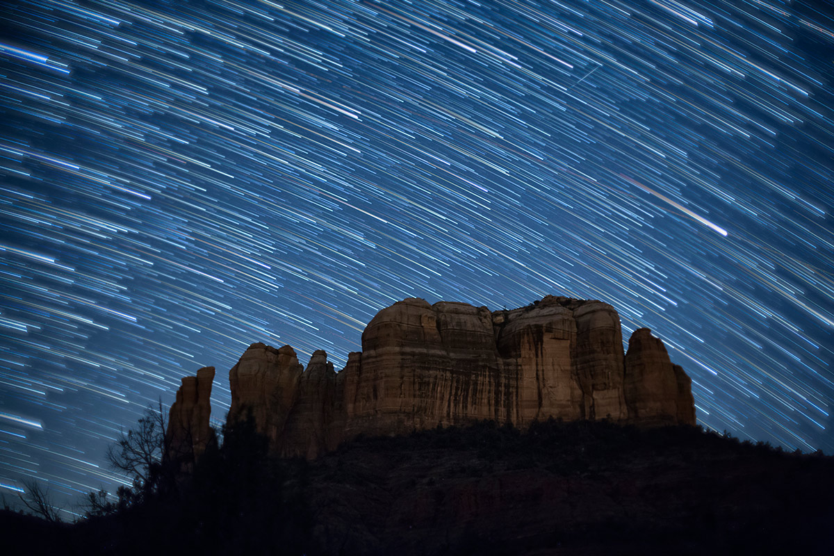 Star trails over Cathedral Rocks