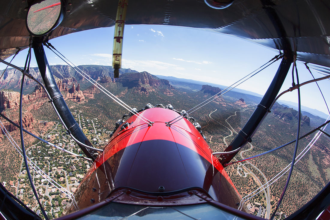 Flying high above Sedona's red rocks