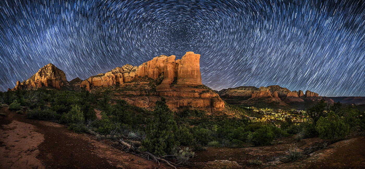 Star trails panorama over Sedona