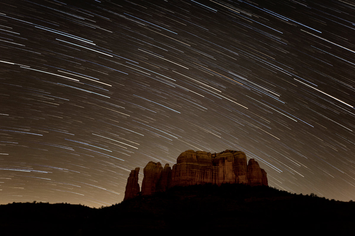 Star trails over Cathedral Rock