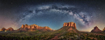 Milky Way panorama with moonlight in Sedona, Arizona