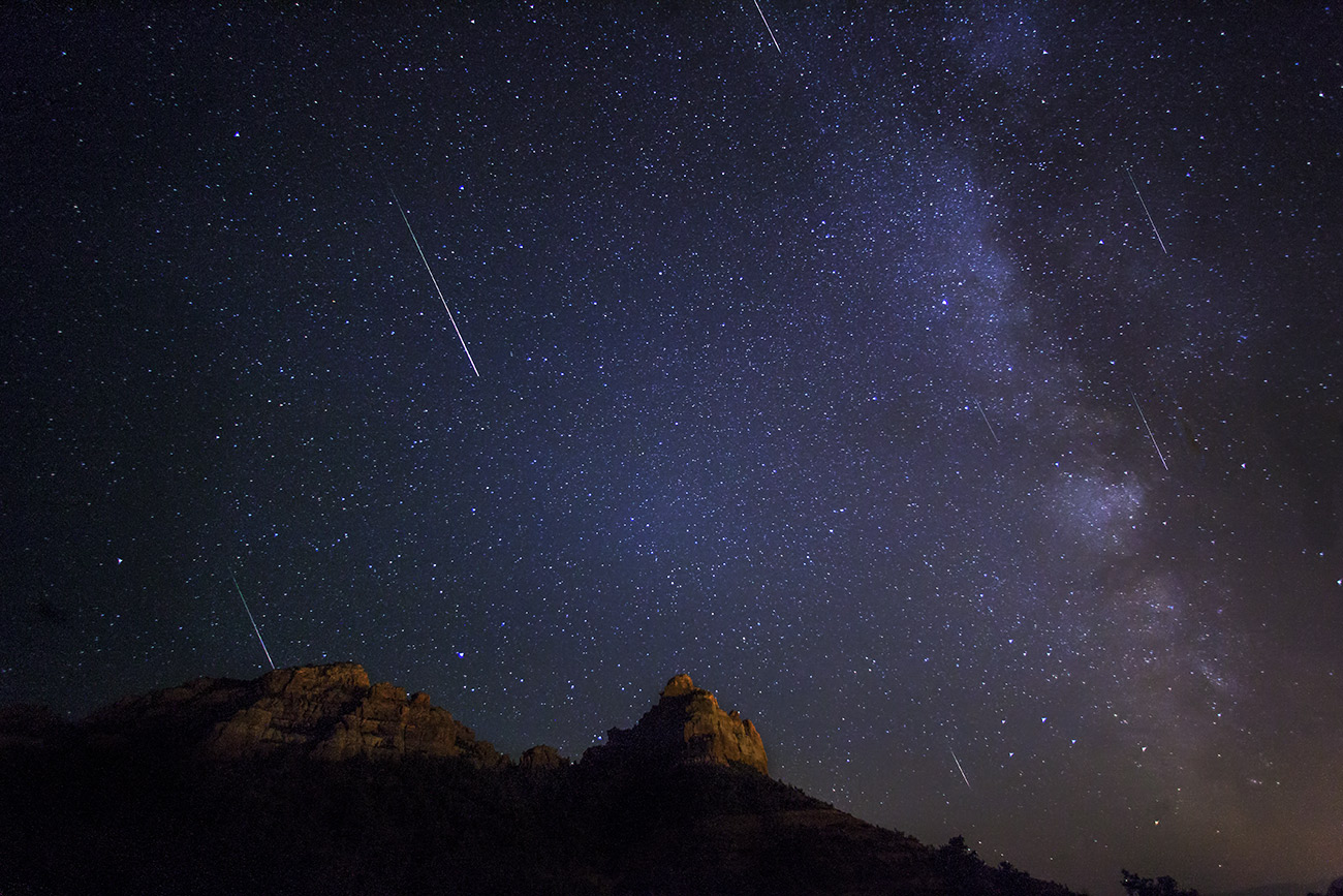 Perseid meteor shower over Sedona, August 2013