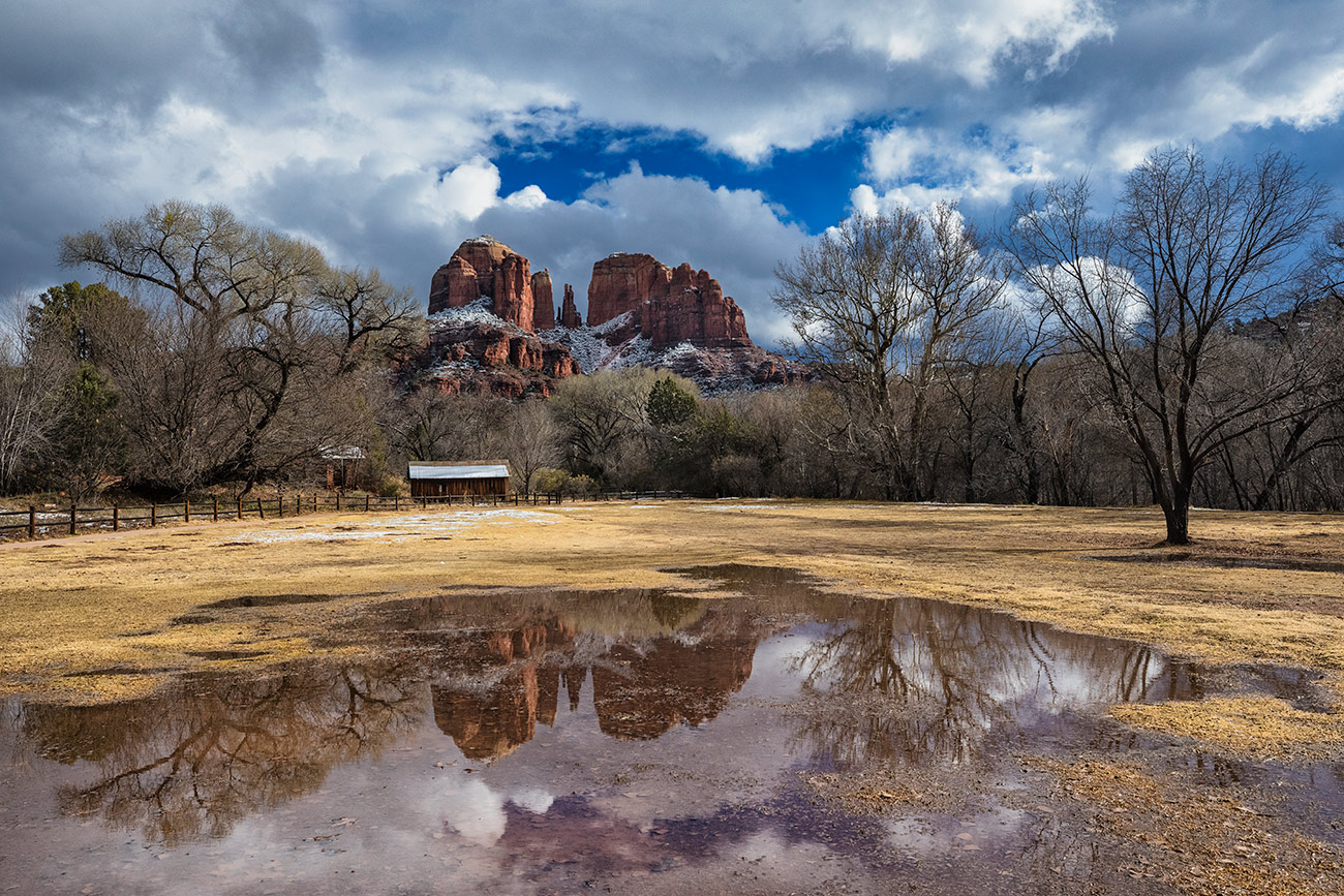 Snow on Cathedral Rock