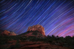 Star trails over Courthouse Rock in Sedona