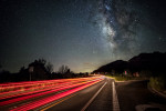 The Milky Way and car trails on hwy. 179