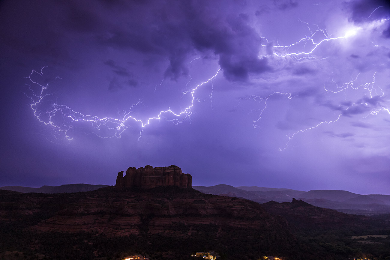 Cathedral Rock with lightning