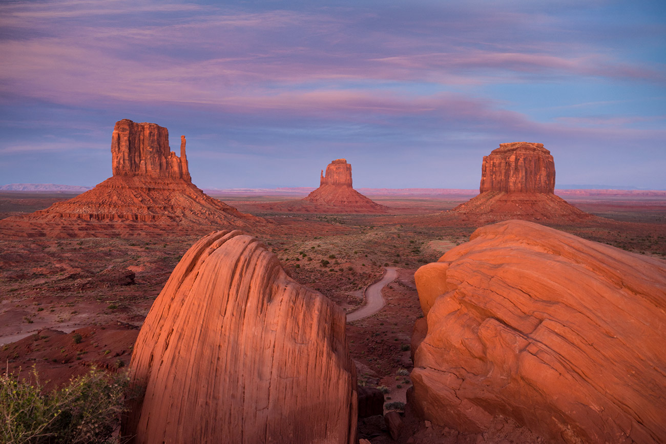 The Mittens in Monument Valley at sunset