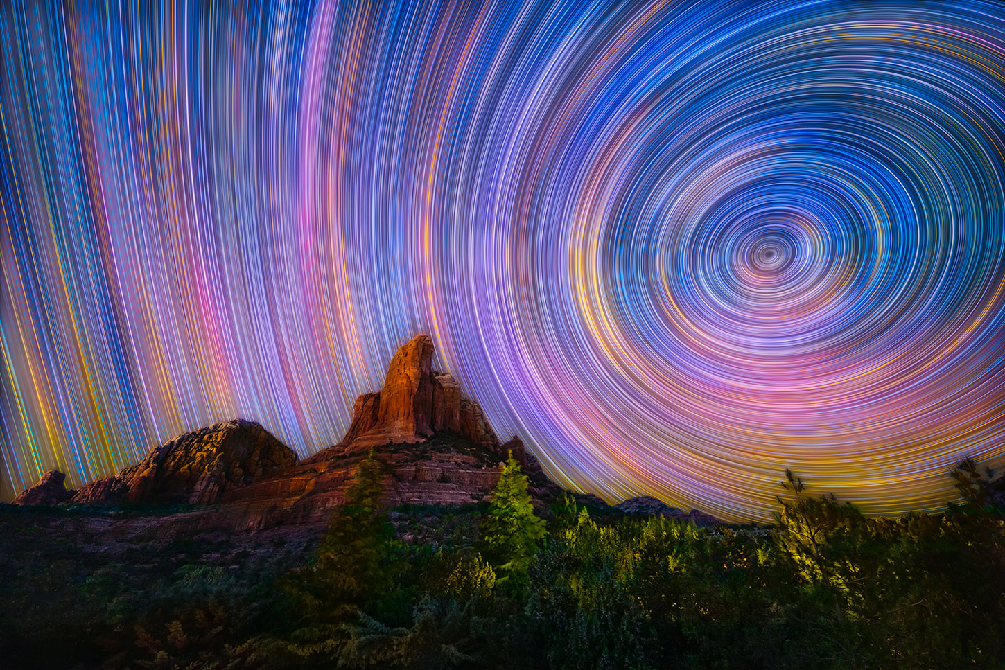Star trails over Coffee Pot rock in Sedona