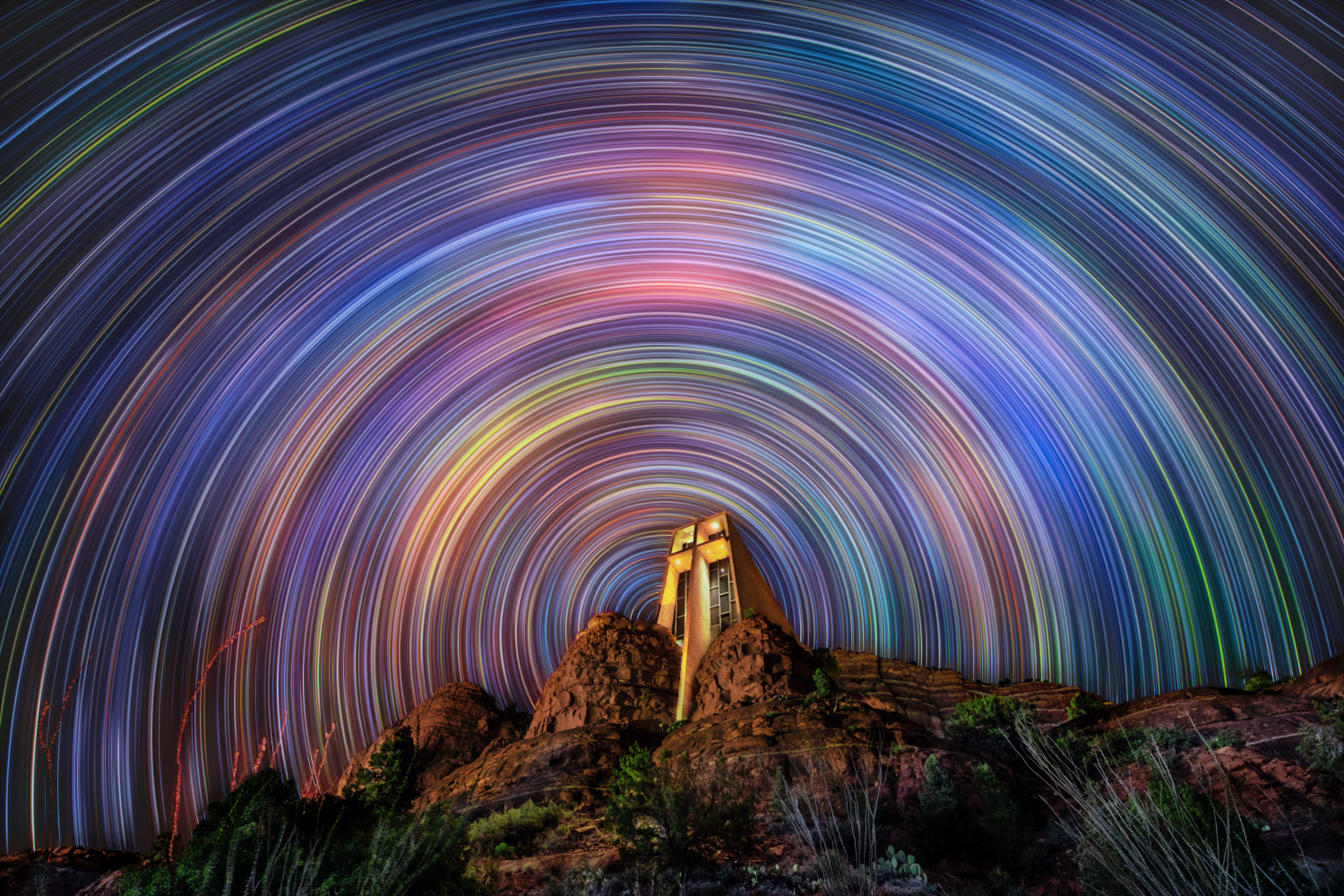Star trails over the Chapel in Sedona, Arizona