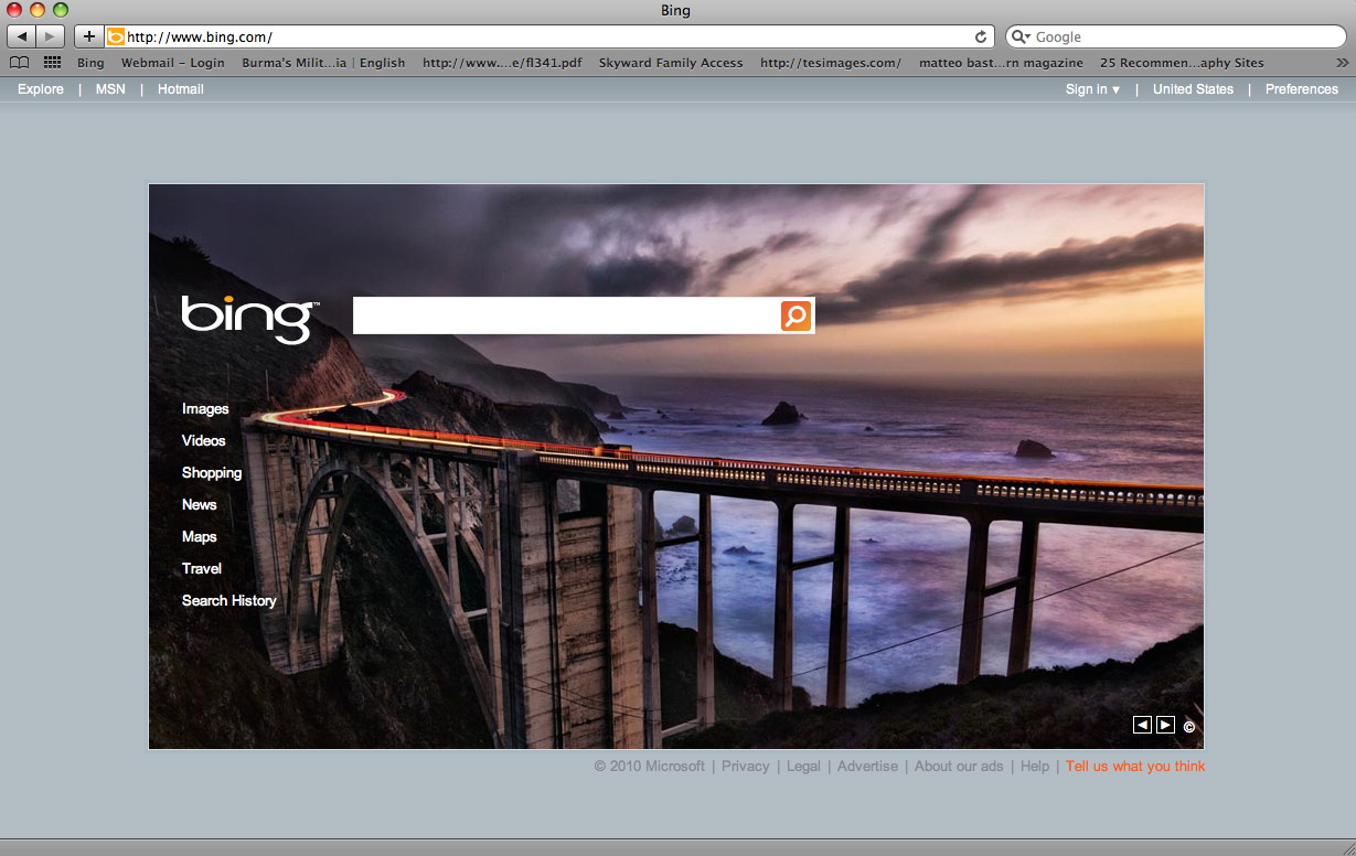 My shot of the Bixby Bridge for Bing