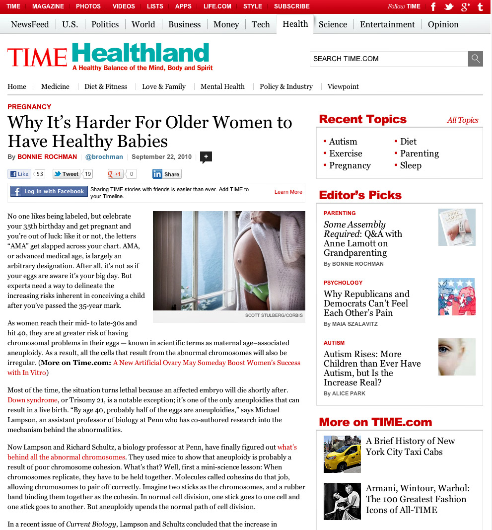 Time Magazine article on pregnant women