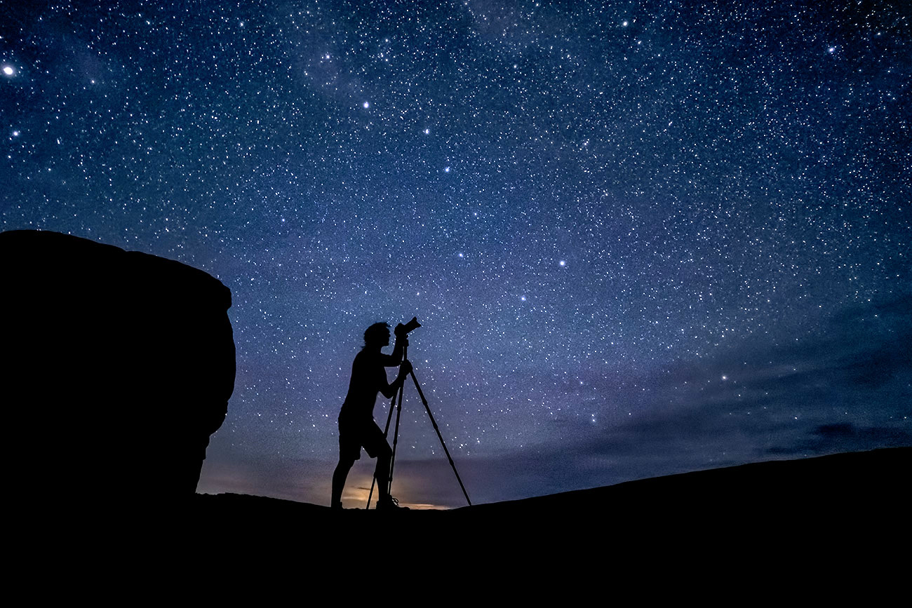 Me shooting the night sky in Arches