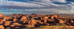 Sunrise panorama in Hunts Mesa, Monument Valley